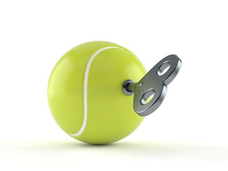 Теннисный мяч с ключом clockwork иллюстрация штока