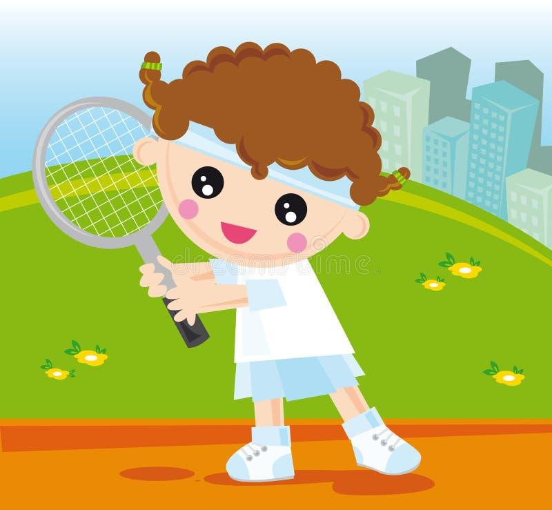 теннис девушки иллюстрация вектора