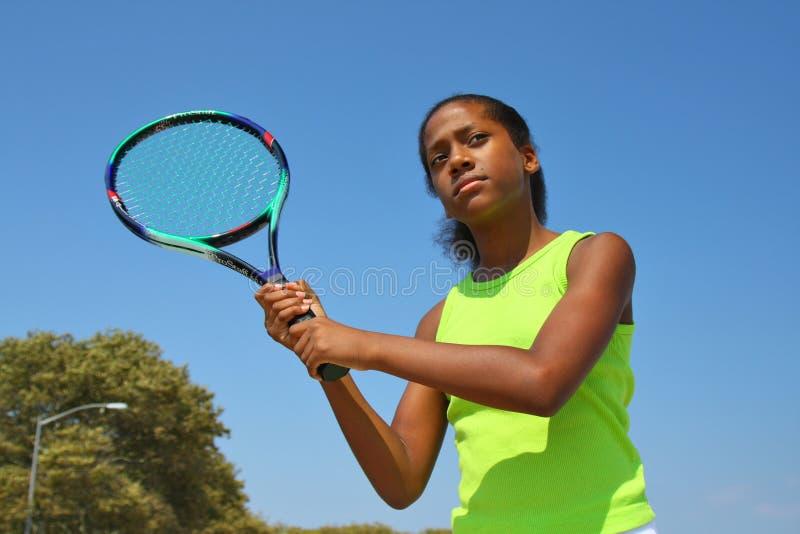 теннис женского игрока подростковый стоковые фотографии rf