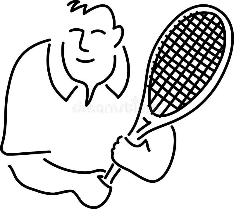 теннис игрока шаржа иллюстрация вектора