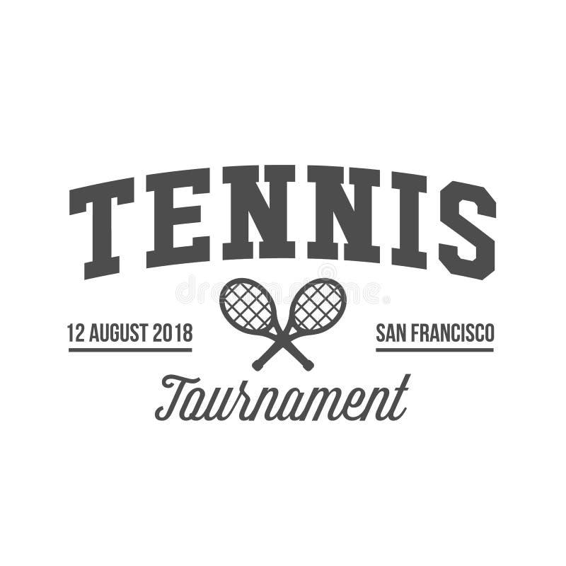 Теннис резвится логотип, ярлык, эмблема, элементы дизайна иллюстрация вектора