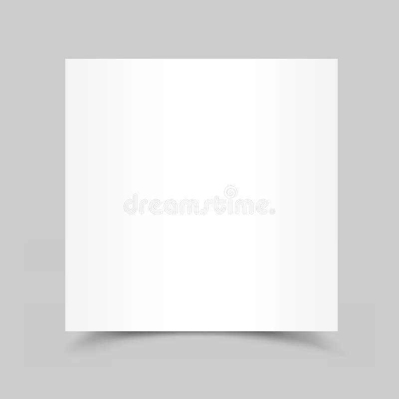 Тень карточки белой бумаги иллюстрация штока
