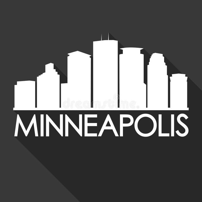 Тень ночи горизонта дизайна искусства вектора значка города Миннеаполиса Минесоты США плоская бесплатная иллюстрация