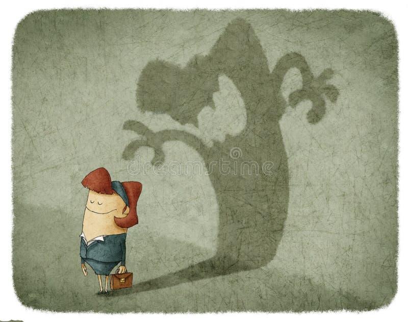Тень отливки женщины сердитой женщины иллюстрация штока