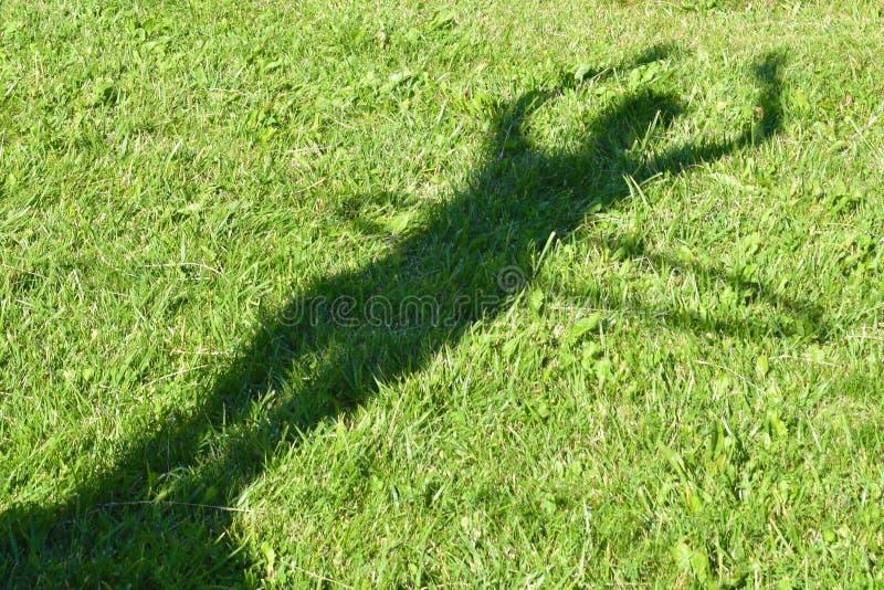 Тень от красивой девушки на зеленой траве g стоковые изображения rf