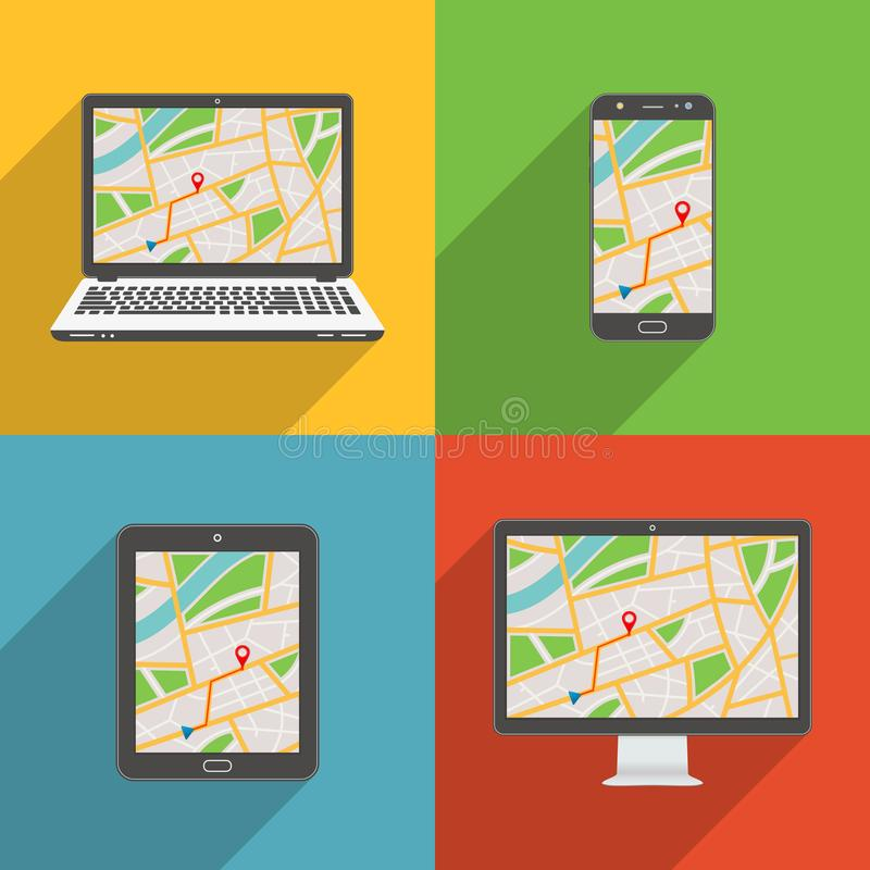 Тень плоского дизайна длинная ввела современный комплект значка вектора устройств в моду и приборы с GPS составляют карту бесплатная иллюстрация