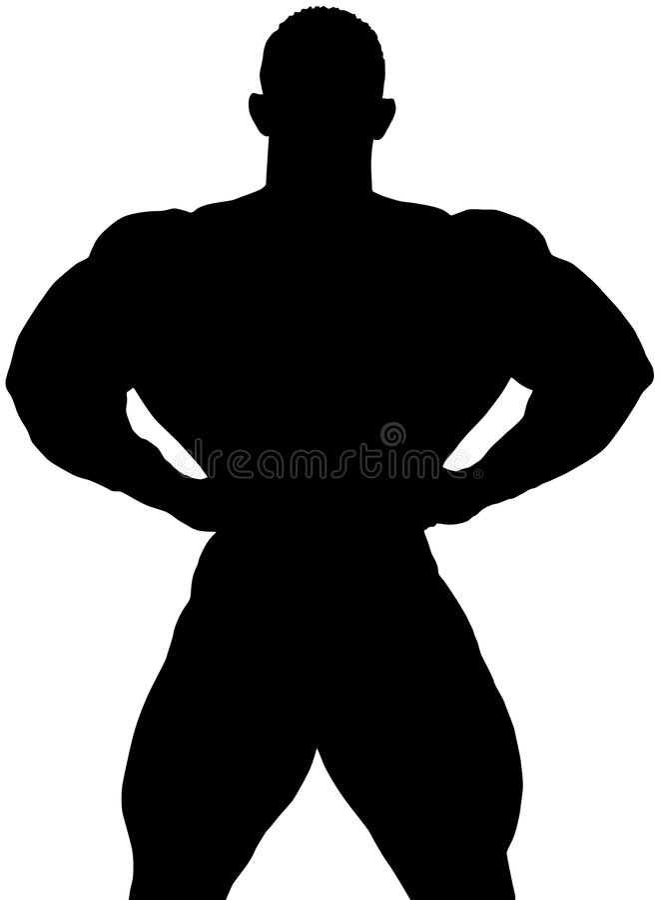 Тень строителя тела иллюстрация штока
