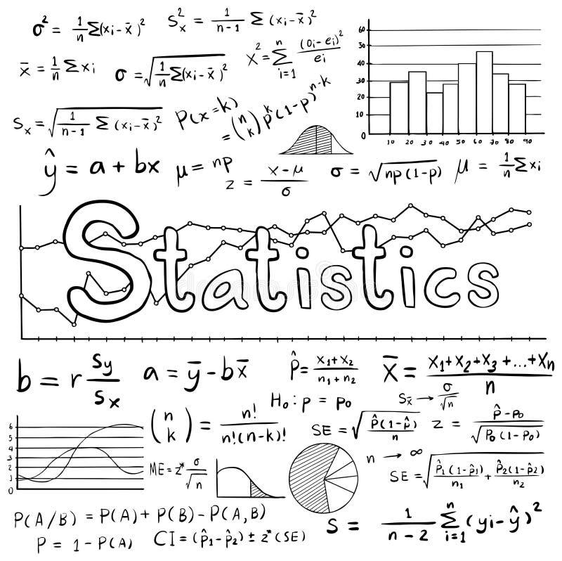 Теория закона математики статистики и уровнение математической формулы бесплатная иллюстрация