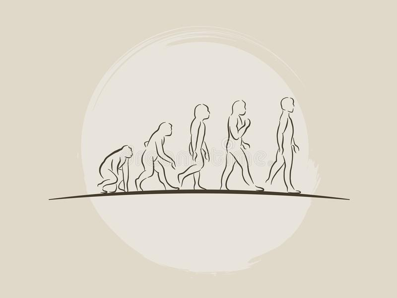 Теория эволюции человека - человеческое развитие - вручите вычерченную иллюстрацию вектора эскиза иллюстрация штока