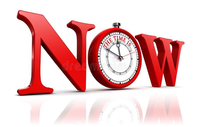 Теперь красное слово и часы иллюстрация вектора