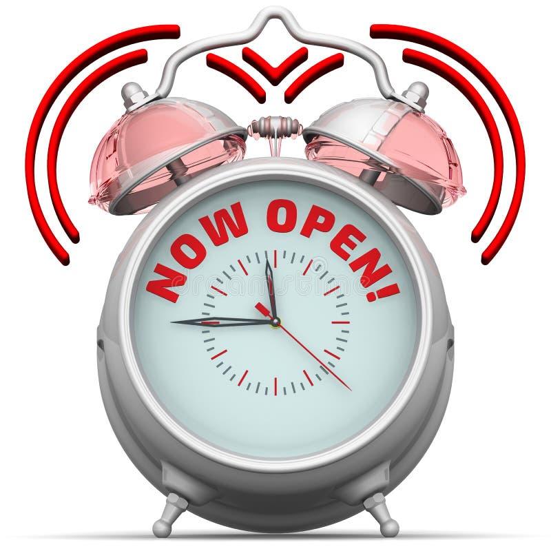 Download Теперь открытый! Будильник с надписью Иллюстрация штока - иллюстрации насчитывающей во, минута: 81813102