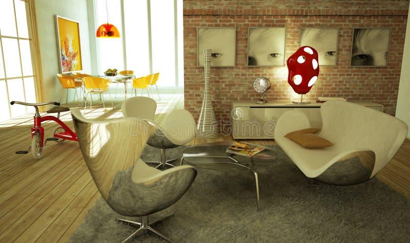теплое гостиной атмосферы самомоднейшее стильное очень бесплатная иллюстрация