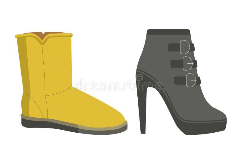 Теплые обувь зимы на пятке и плоско единственный бесплатная иллюстрация