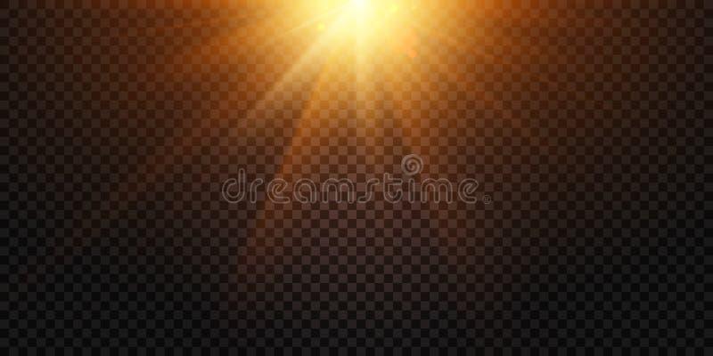 Теплые световые лучи Волшебный пирофакел объектива светов, вспышка солнца и иллюстрация вектора лампы изолированная пирофакелами бесплатная иллюстрация