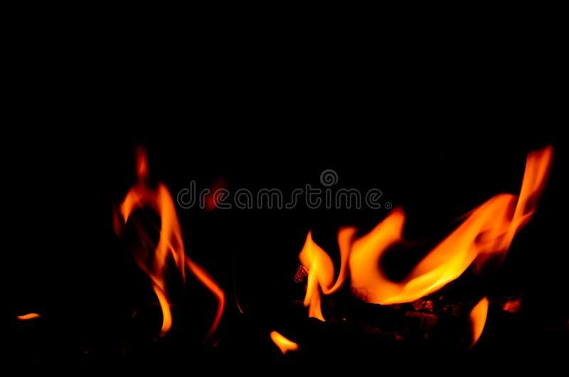 Теплые танцуя пламена на черной предпосылке стоковые фотографии rf