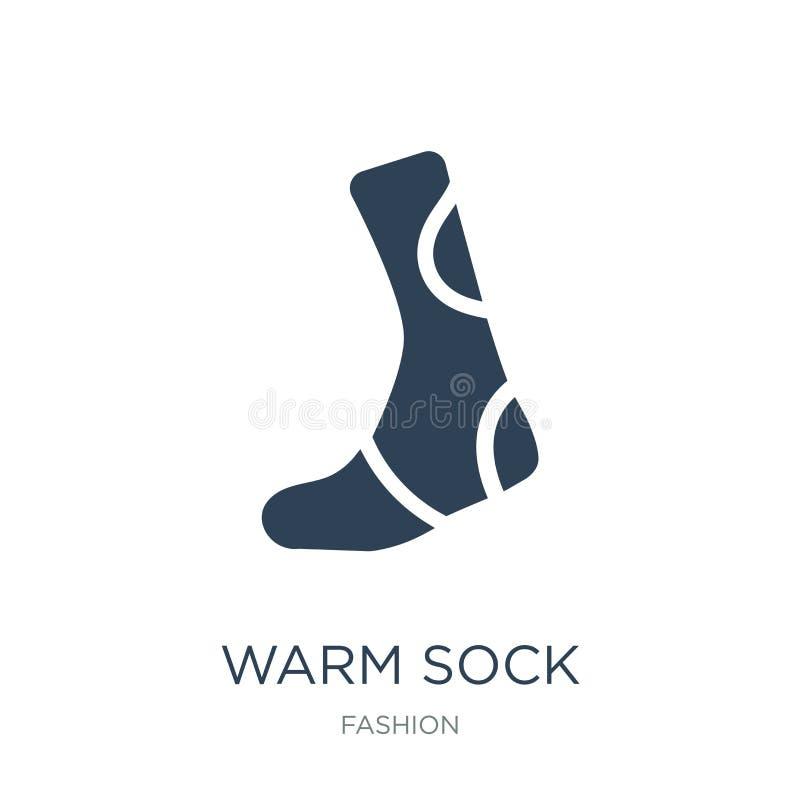 теплый значок носка в ультрамодном стиле дизайна теплый значок носка изолированный на белой предпосылке квартира теплого значка в иллюстрация вектора