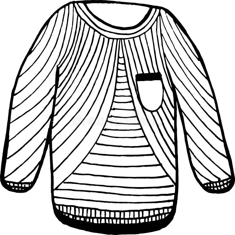 Теплый значок свитера людей, линия иллюстрация вектора искусства для печатей, каталогов, сети бесплатная иллюстрация
