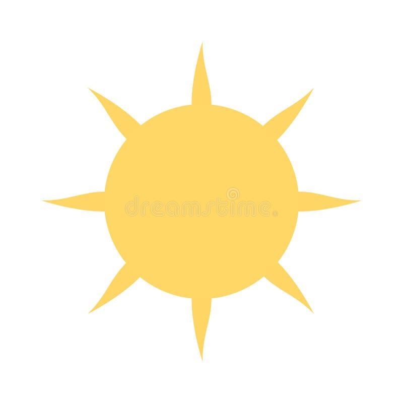 Теплый и дружелюбный значок Солнця с белой предпосылкой иллюстрация вектора