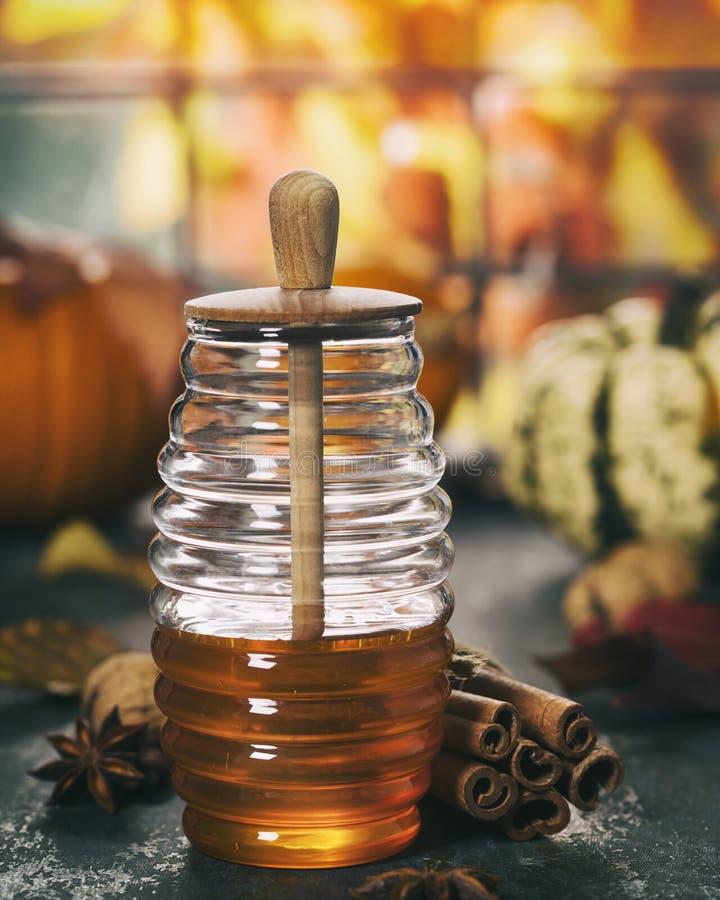 Теплый и удобный состав осени Опарник меда, тыкв и специй стоковые изображения
