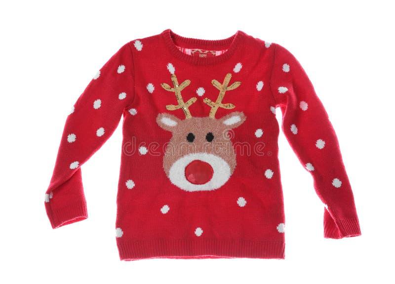 Теплый свитер рождества на белой предпосылке стоковая фотография
