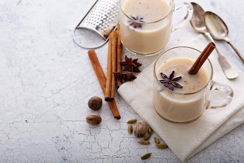 Теплый чай chai с специями зимы стоковое изображение