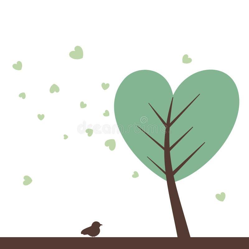 Теплое пастельное дерево сердца с сердцем выходит милая иллюстрация бесплатная иллюстрация