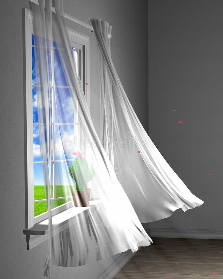 Теплый ветерок весны нежно дуя лепестки вишни через открытое окно иллюстрация штока