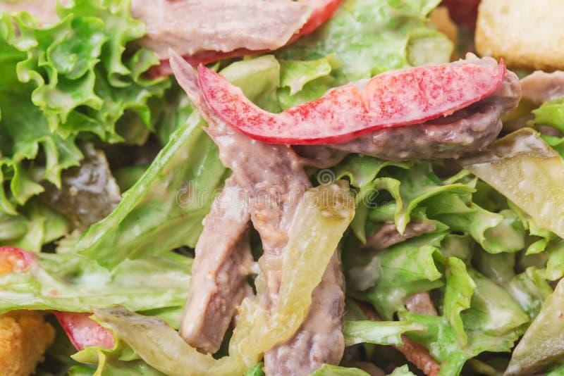 Теплый салат говядины с гренками стоковые изображения