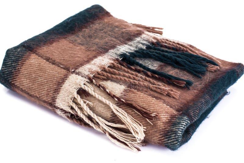 Теплый шарф шерстей в клетке стоковые фотографии rf