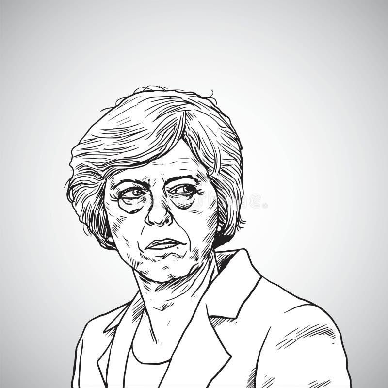 Тереза может Портрет иллюстрации вектора премьер-министра Великобритании 21-ое апреля 2018 бесплатная иллюстрация