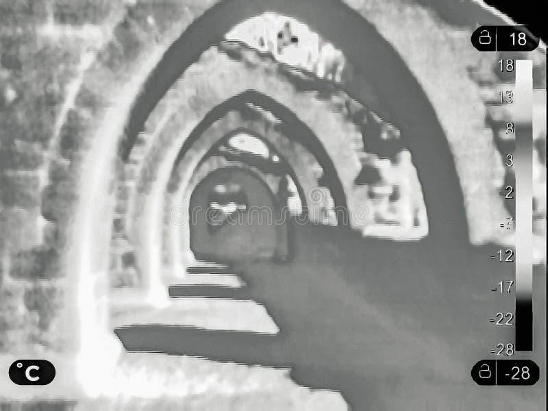Термальное изображение руин иллюстрация вектора