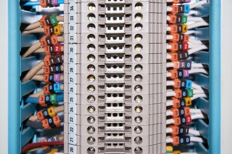 Терминальный блок при соединенные и пронумерованные провода покидая кабельный канал стоковая фотография