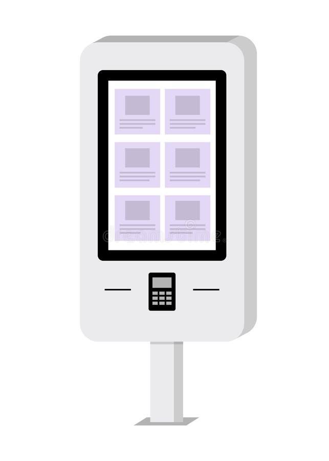 Терминал оплаты и информации электронный с экраном касания Atm Стержень самообслуживания Иллюстрация вектора в плоском стиле иллюстрация вектора