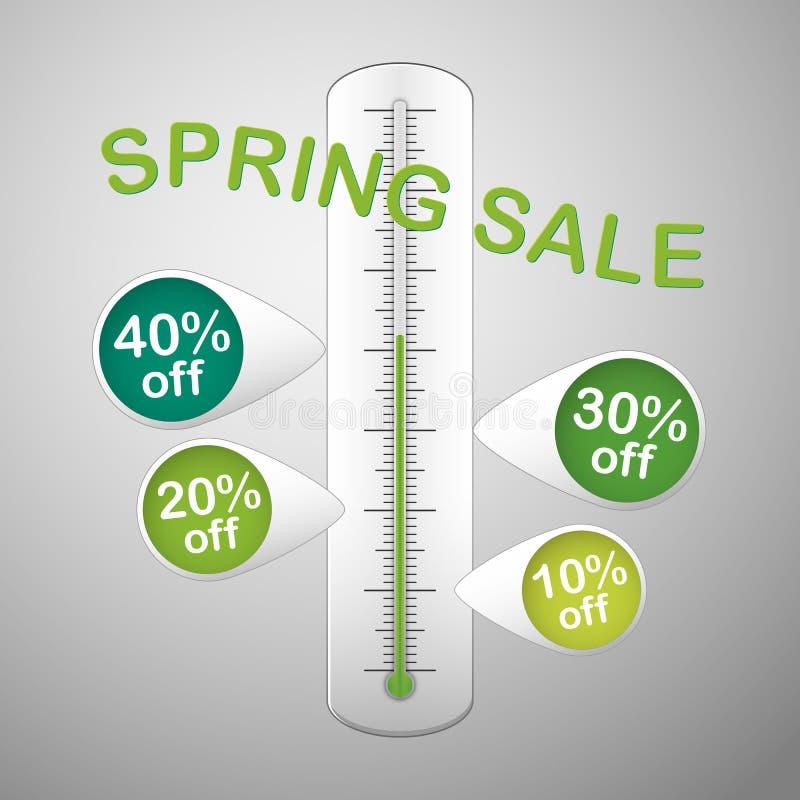 Термометр продажи весны иллюстрация штока