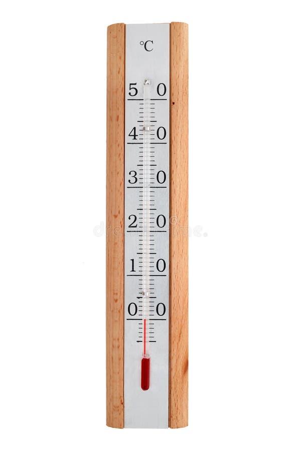 Термометр спирта с деревянным телом показывает 0 градусов стоковые фото