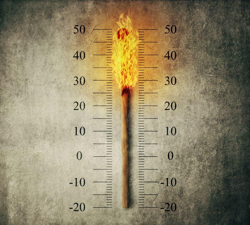 Термометр спички стоковое изображение rf