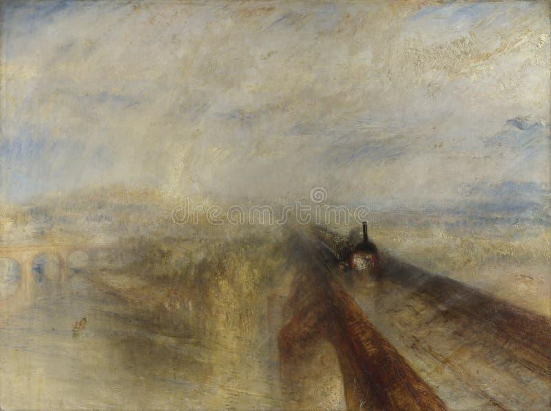 Тернер Иосиф Mallord Вильям - дождь, пар, и скорость - железная дорога Great Western стоковое фото