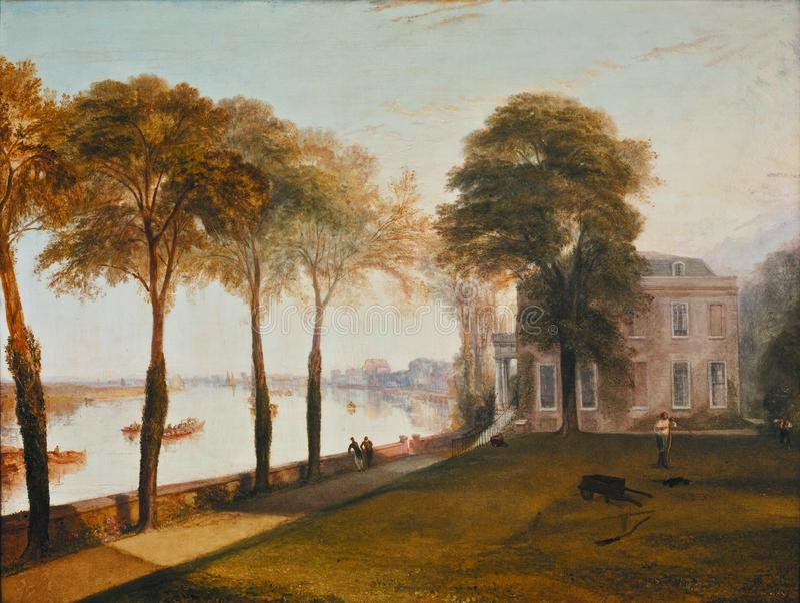 Тернер Иосиф Mallord Вильям - утро раннего лета террасы Mortlake, 1826 стоковая фотография