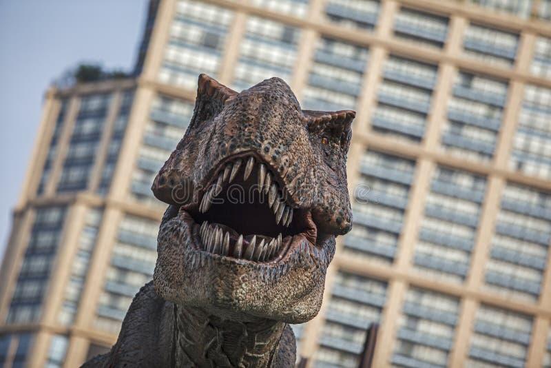 Теропод тиранозавра тиранозавра, животное, голова, цифровая, представляет стоковое изображение rf