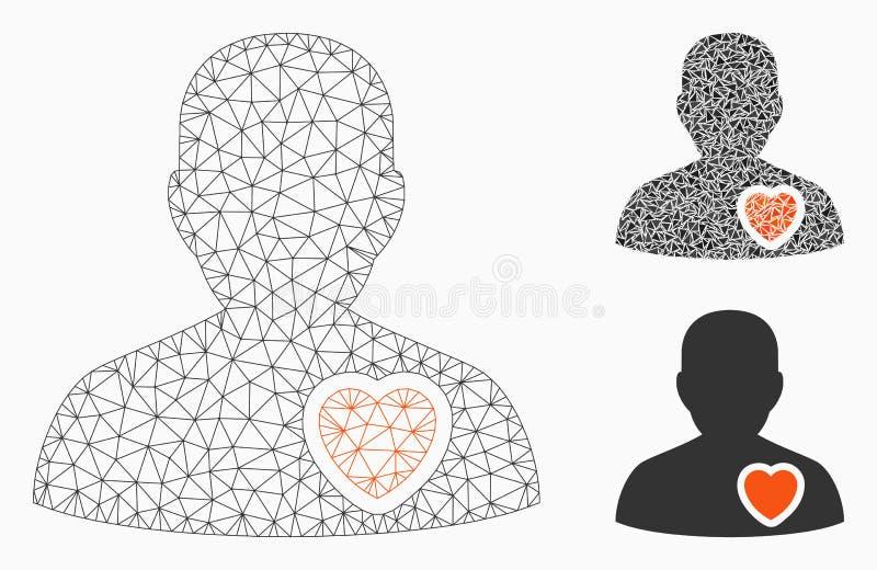 Терпеливый значок мозаики модели и треугольника туши сетки вектора сердца бесплатная иллюстрация