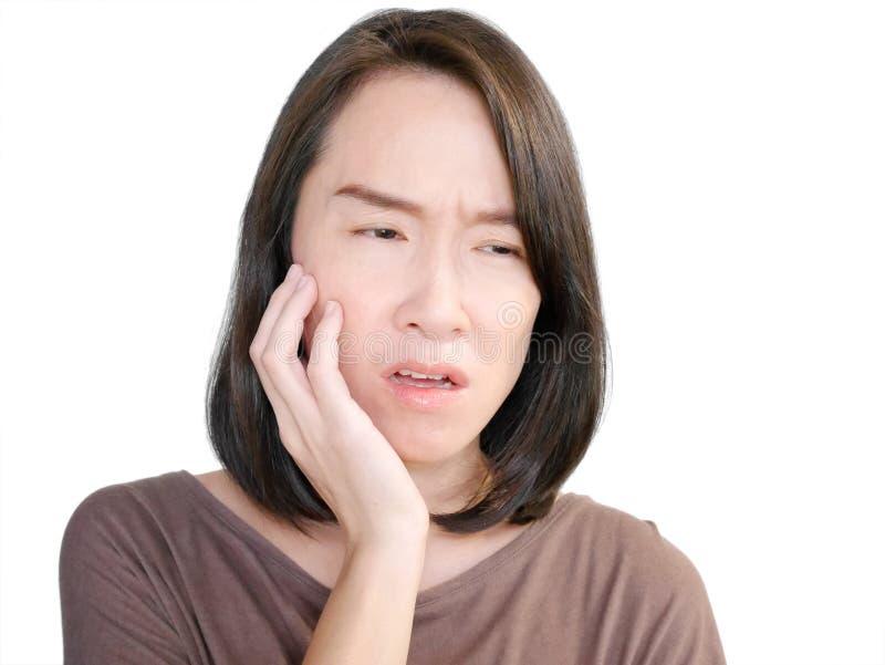 терпя женщина toothache стоковое фото