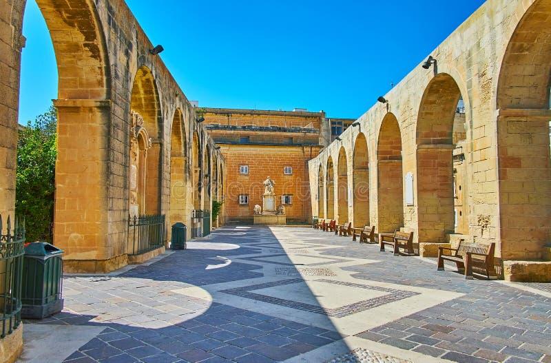 Терраса верхних садов Barrakka, Валлетта, Мальта стоковое изображение