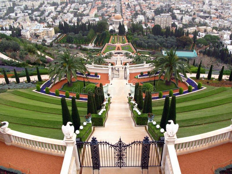 террасы виска Haifa Израиля Bahai Стоковая Фотография RF