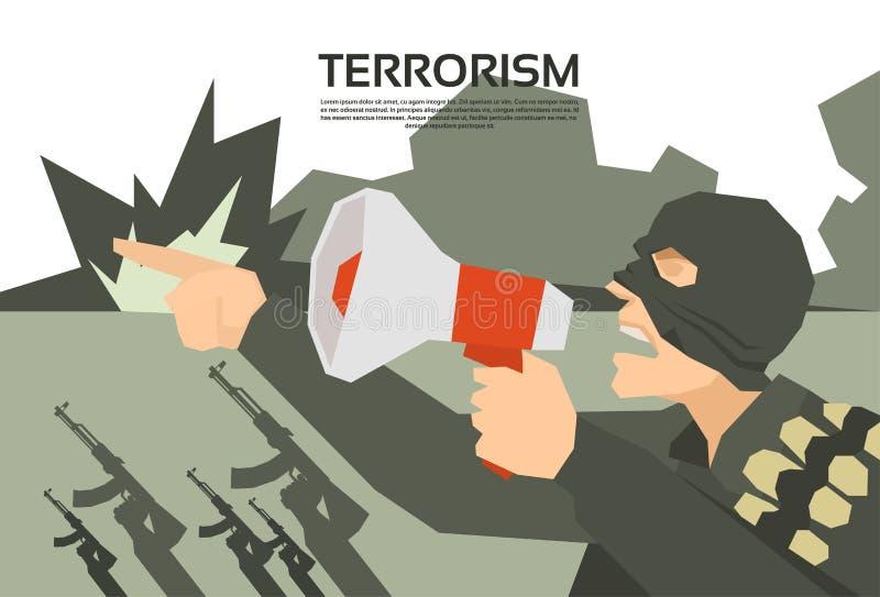Террорист с руководителем группы терроризма мегафона иллюстрация вектора