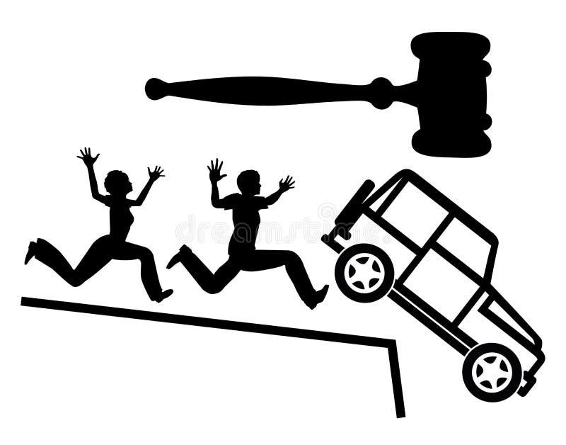 Терять автомобиль в банкротстве иллюстрация вектора