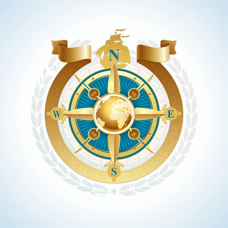 тесемка глобуса компаса золотистая подняла бесплатная иллюстрация