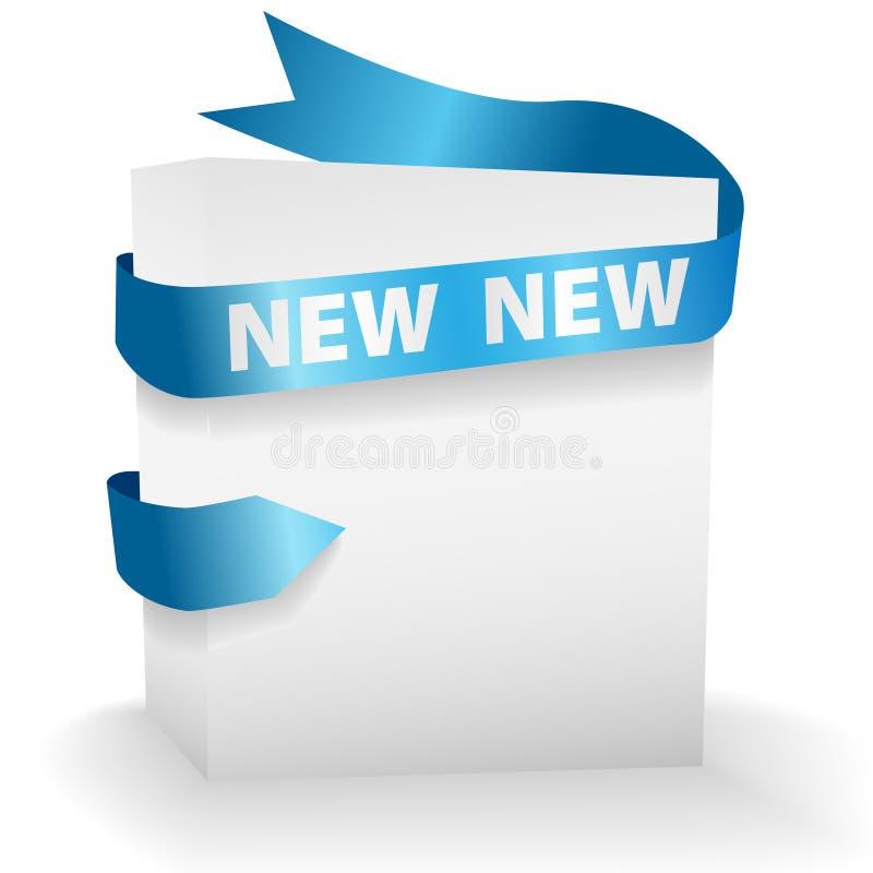 тесемка голубой коробки яркая новая упаковывая иллюстрация штока