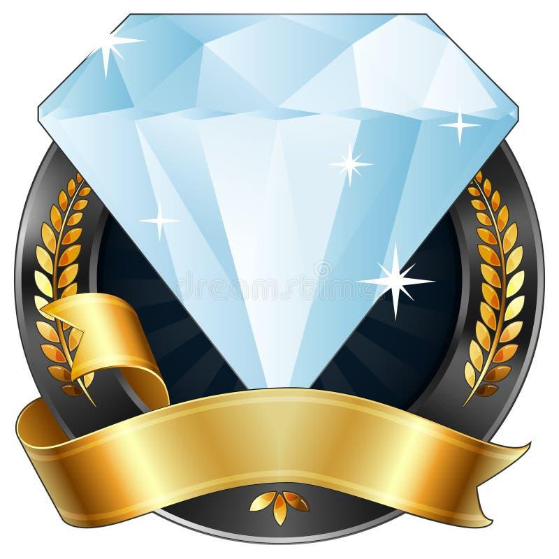 тесемка драгоценности золота диаманта премии за достижения иллюстрация вектора