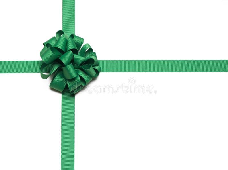 тесемка зеленого цвета рождества смычка стоковые изображения rf