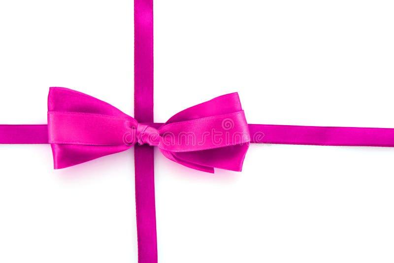 тесемка изолированная смычком розовая стоковая фотография